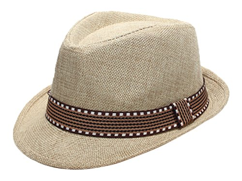 EachEver Kid Boys Fedora Hat Jazz Cap Cotton Photography Trilby Top Sun Hats Beige]()