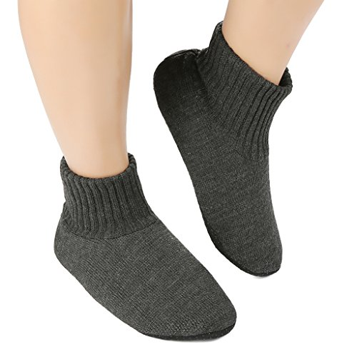 Panda Bros Slipper Socks Soft Cozy Thick House Indoor Boot Sock Shoes with Anti-Skid Bottom Soles for Men's(dark gray,7-9.5)
