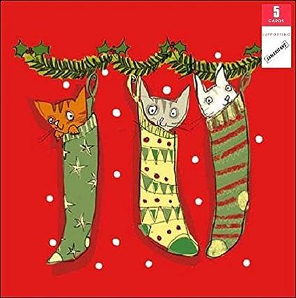 Charité cartes de Noël mignon chien et chaton Foil estampé Finition-Pack 5
