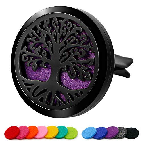 (RoyAroma 30mm Car Aromatherapy Essential Oil Diffuser Stainless Steel Locket with Vent Clip 12 Felt Pads-Tree of Life)
