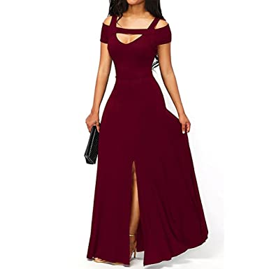 Mercantil Express Women New Cold Shoulder Front Slit Flare Maxi Dress Sexy V Neck Empire Waistline