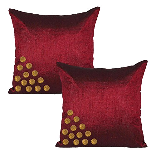 Set of 2 Indian Cushion Cover With Golden Buttons Poly Dupion Silk Plain Maroon Bed Home Decor Sofa Pillow Case 12