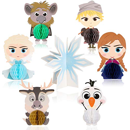 Party De Frozen (Ticiaga 7pcs Frozen Honeycomb Centerpieces, Table Topper for Girls Birthday Party Decoration, Double Sided Cake Topper Princess Theme Party Supplies for Kids, Photo Booth Props Mix of Elsa, Anna,)