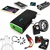 Indigi 12800mAh Heavy Duty Portable Power Bank + Jump Starter + Tire Air Compressors & Inflators