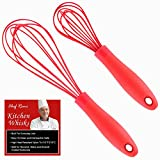 Latest 2-pc Balloon Whisk Set - Multi Function 11-Inch and 8-Inch Silicone Whisks That Never Scratch Nonstick Pots & Pans Unlike Stainless Steel Kitchen Wire Whisks