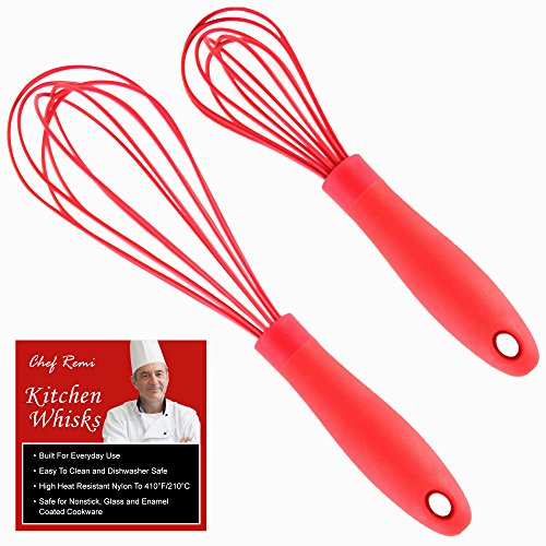 UPC 712038444823, Latest 2-pc Kitchen Whisk Set - Multi Function 11-inch And 8-inch Silicone Wire Balloon Whisks That Never Scratch Nonstick Pans Unlike Stainless Steel Kitchen Tools