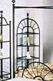 Sunburst Wrought Iron Style Glass 4-Tier Corner Stand Rack