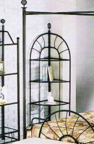 Review Sunburst Wrought Iron Style Glass 4-Tier Corner Stand Rack By Acme Furniture by Acme Furniture
