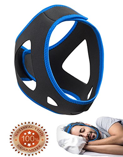 Anti-Snoring Chin Strap & Jaw Support Belt - Natural Sleep,Instant Relief - Adjustable Velcro - Non-Sliding Off - Comfortable,Breathable Fabric - Stop Snoring CAPA Headband (BLUE with chin hole)