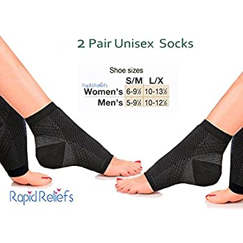 Rapid Relief Sox 2 pairs Plantar Fasciitis Socks, Compression Sock Sleeve with Arch & Ankle & Heel Support, Increases Circulation, Eases Swelling & Relieves ...
