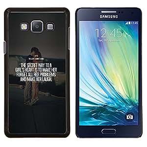 KLONGSHOP // Cubierta de piel con cierre a presión Shell trasero duro de goma Protección Caso - Cita de la boda pareja de texto del amor del corazón - Samsung Galaxy A7 A7000 //