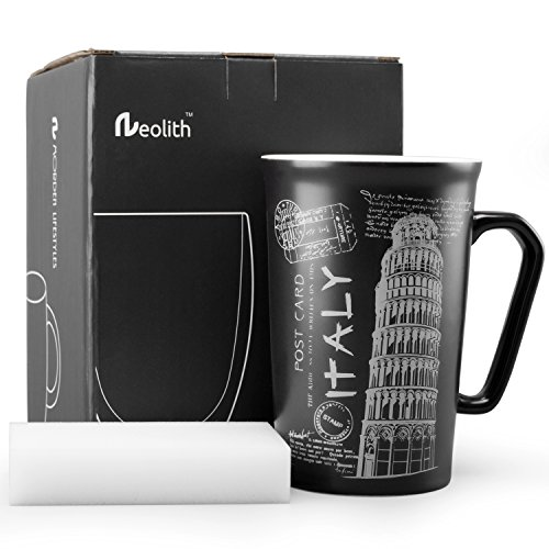 Neolith Black & White Ceramic Coffee Mug Gifts Box Architecture Tea Mugs Leaning Tower Cups Travel Mug Topic Handmade Mugs for Drinks Funny Mug for Men and Women 13.5 oz Italy Souvenirs Mug Pisa Tower