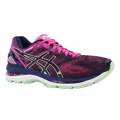Asics Women's Gel-Nimbus 19 Indigo Blue, Paradise Green and Pink Glow Running Shoes - 7 UK/India (40.5 EU)(9 US)
