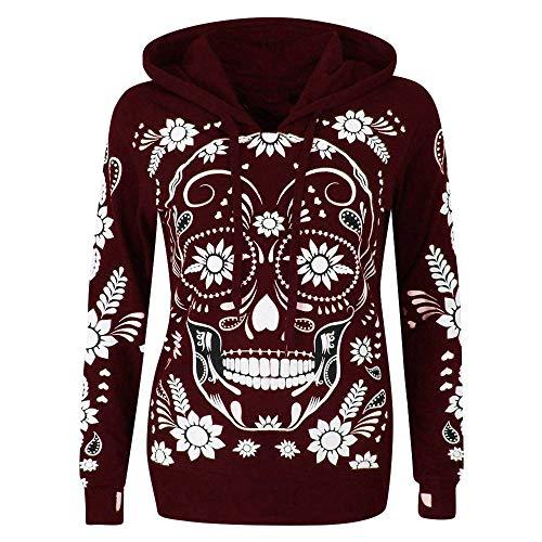 Outdoor Hoodie Women's Long Sleeve Sweatshirt Skull Print Hooded Pullover Sweater Hat Sweater Loose Halloween Tops Red