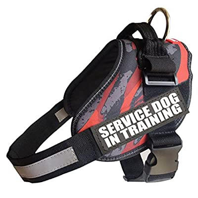 "Fairwin Service Dog Vest Harness, Adjustable Tactical Dog Vest No Pull with Reflective ""SERVICE DOG"" Patches"