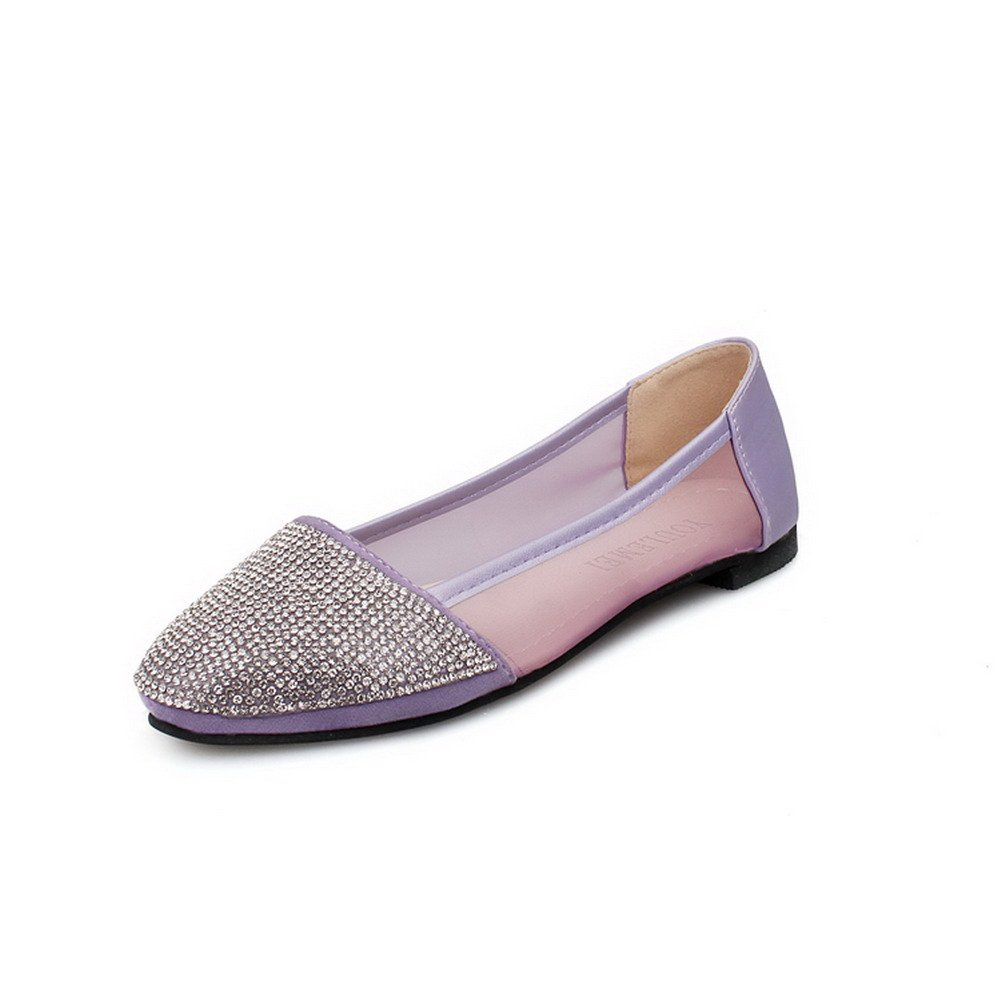 VogueZone009 Womens Closed Round Toe PU Soft Material Solid Pumps with Glass Diamond, Purple, 7.5 B(M) US