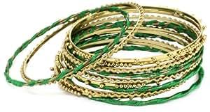 "Amrita Singh ""Bangle Bangle"" Silk Thread Embellishment with 18k Gold-Plated Green Bangle Bracelet Set"