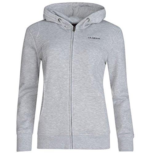 LA Gear - Sudadera de manga larga con capucha para mujer, con cremallera, estilo casual gris
