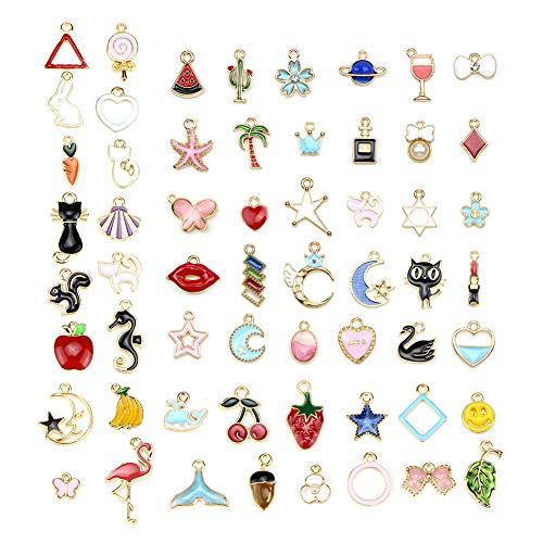 - 60pcs Assorted Gold Plated Enamel Animals Fruit Moon Star Unicorn Charm Pendant, DIY Dainty Dangle Crafting Accessories for Necklace Bracelet Ankle Earring Jewelry DIY Making Charms
