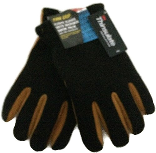 Firm Grip Fleece Gloves With Deerskin Suede Palm & 40G Thinsulate Insulation, Size L (Vintage Suede Gloves)