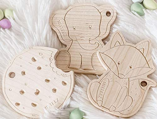 MITTEEZ Teething Buddies Wood Teether Toy and miniStrands Chewbeads and Pacifier Clip Pink Ella The Elephant