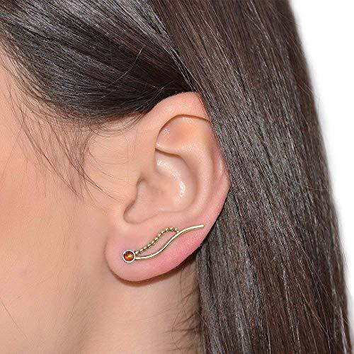 3mm Garnet Ear Climber Earring Gold/Post Earrings, Stud earrings ()