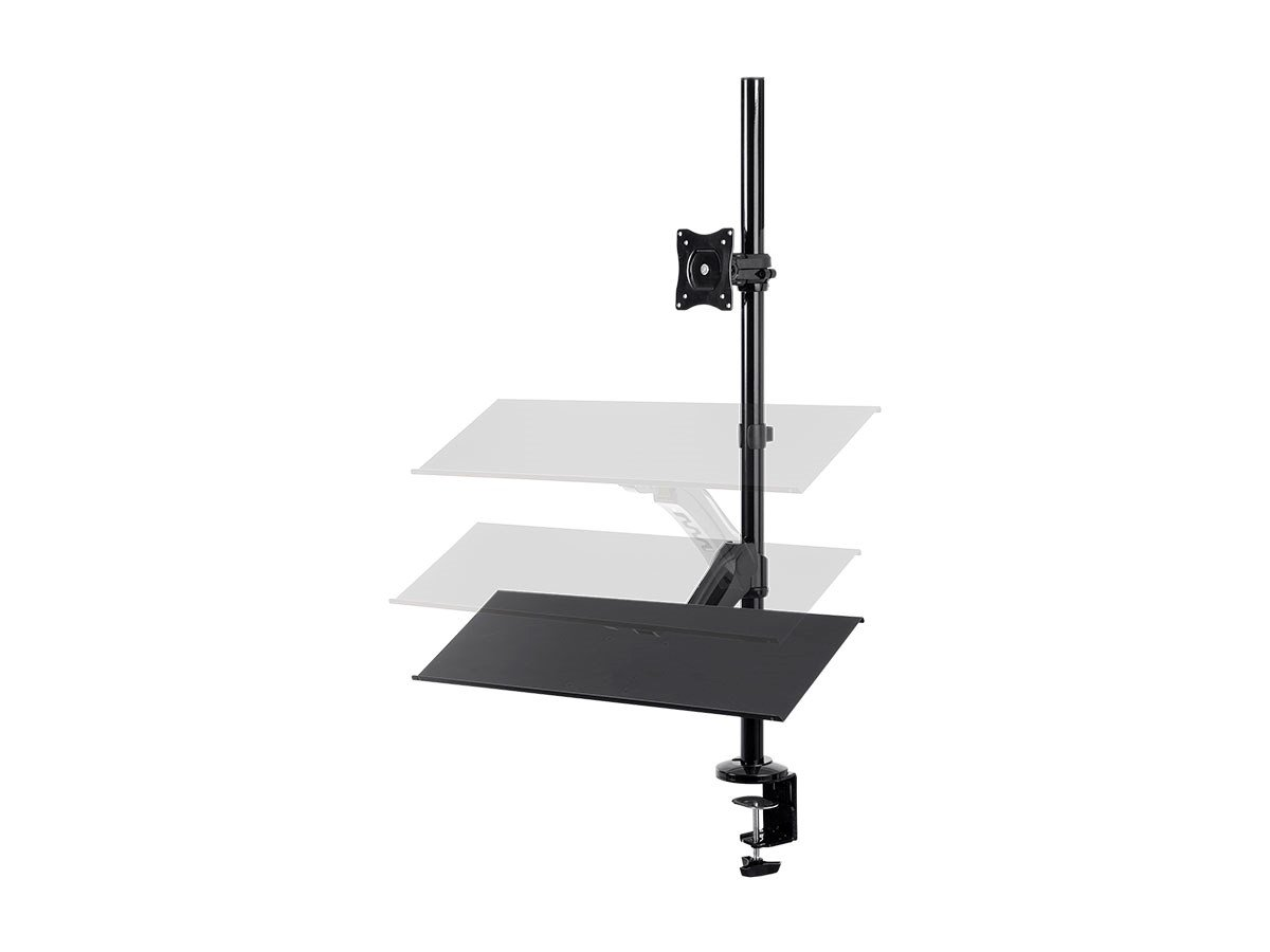 Monoprice Height Adjustable Gas Spring Sit Stand Monitor and Keyboard Riser Desk Mount - Black, 26 Inch Table Top Workstation | Easy To Use, Compatible With Most Desks