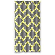Bestweek Gray And Yellow Moroccan Tile Quatrefoil Design Custom Shower Curtain 36 X 72