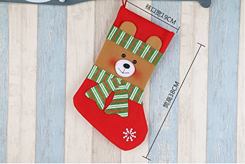 Fuyus 4-Pack 15'' Cute Christmas Stockings for Kids,Santa Claus,Snowman,Elk and Bear