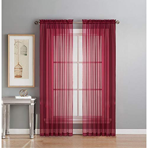 Sapphire Home 2 Panels Window Sheer Curtains