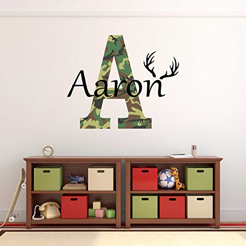 Custom Name Camo Hunting Wall Decal - Boys Personalized Name Camo Hunting Wall Sticker - Custom Name Sign - Custom Name Stencil Monogram - Boys Name Camo Room Wall Decor