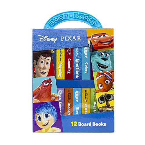 Disney Pixar - My First Library 12 Board Book Block Set - PI Kids (Storytime Library Ideas Christmas)