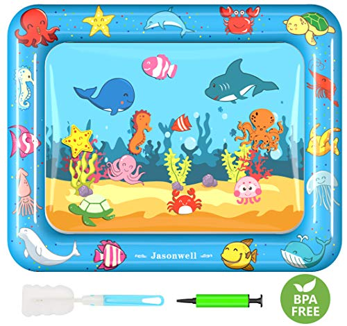 Jasonwell Tummy Time Water Mat Baby Toys 3 6 9 12 Months Old 30X24 Inches X-Large Infant Toys Inflatable Water Play Mat for Toddlers Fun time Play Activity Center Brain Development Stimulation Growth