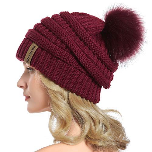 QUEENFUR Women Knit Slouchy Beanie Chunky Baggy Hat with Faux Fur Pompom Winter Soft Warm Ski Cap (Burgundy) ()