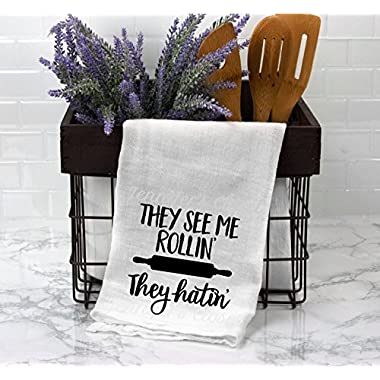 They See me rollin they hatin, Funny Kitchen towels, flour sack towels, large white lint free cotton towels with sayings