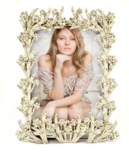 - Ciel Collectables Vintage Carving Sophia Picture Frame with Hand Set Clear Swarovski Crystal, High Quality Silver Plating, Stylish Metal Back, Holds 3.5 x 5 Pictures