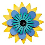 Studio M Kaleidoscope Collection Kinetic Sculpture Yard Art, 18-inches, Blue and Aqua Flower on Yellow