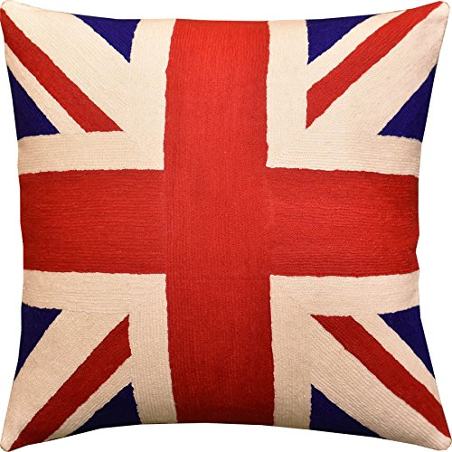 Embroidered Jack - Kashmir Designs British Flag Union Jack Decorative Pillow Cover Handembroidered Wool 18x18