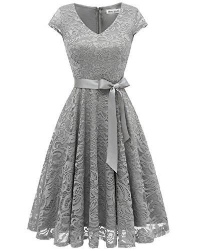 - BeryLove Women's Floral Lace Short Bridesmaid Dress Cap Sleeve Cocktail Party Dress BLP7006GreyXL