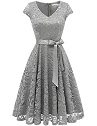 Women's Floral Lace Short Bridesmaid Dress Cap Sleeve Cocktail Party Dress