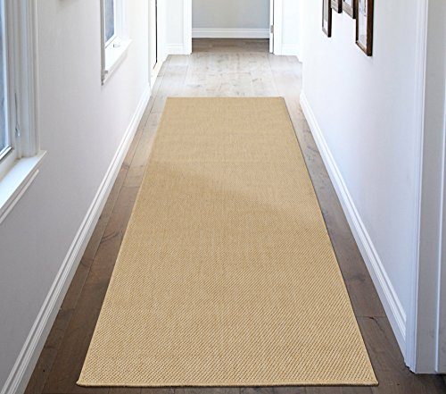 (Ottomanson Jardin Collection Natural Solid Design Indoor/Outdoor Jute Back Synthetic Sisal Runner Rug, 2'7