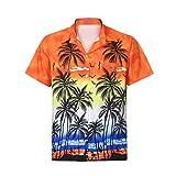 KASAAS Hawaiian Shirts for Men Floral Print V-Neck Tops Short Sleeve Button Down Simple Casual Beach T-Shirt Pullover