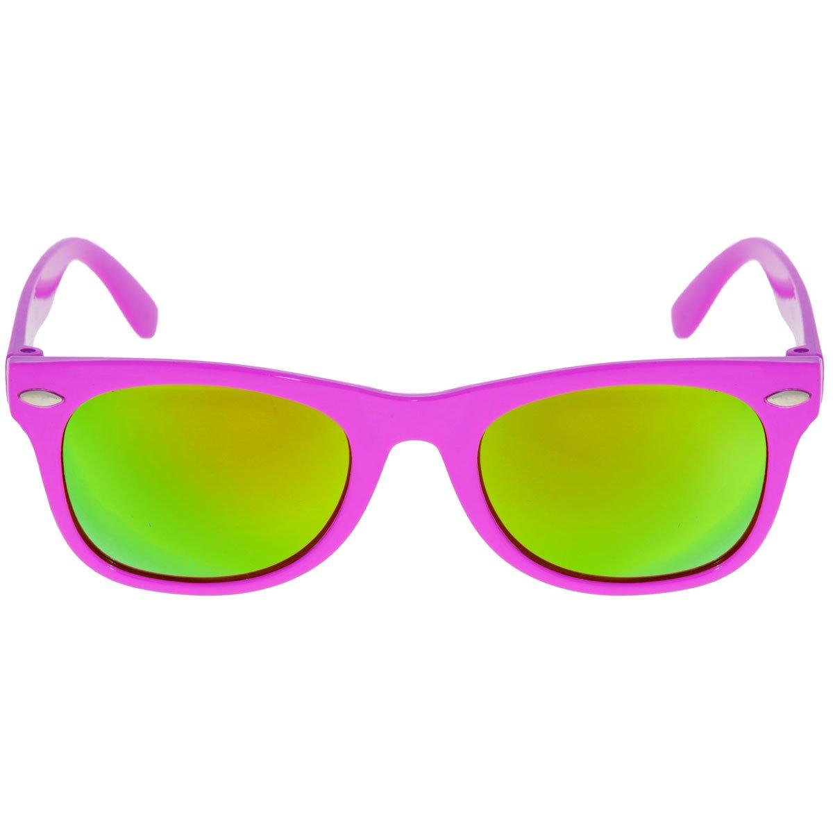 Retro Vintage Wayfarer Sonnenbrille Unisex Verschiedene Farben (Pink- Verspiegelt Gelb)