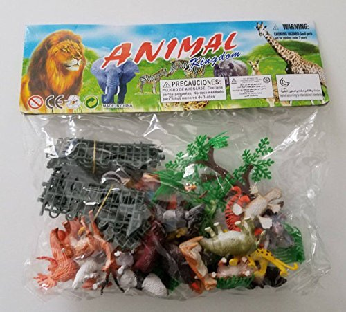 Kool KiDz 54 Piece Mini Jungle Animals Toys Set,Zoo World Realistic Wild Vinyl Pastic Animal Learning Resource Party Favors Toys For Boys Kids Toddlers Forest Small Farm Animals Toys (Jungle Mini Toy)
