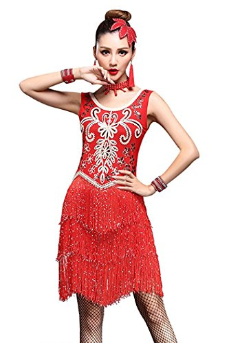 Honeystore Women's 1950s Flapper Latin Costumes Sequined Fringe Rockabilly Dress Red L (Competition Dance Costume For Sale)