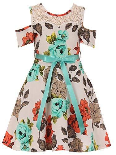 Big Girls' Dress Off Shoulder Lace Floral Wedding Evening Party Flower Girl Dress Off White 12 (J21KS23)
