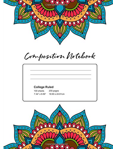 Composition Notebook:: Mandala Notebook for Girls 7.44x9.69 70 Wide Ruled Pages por Angie Mae