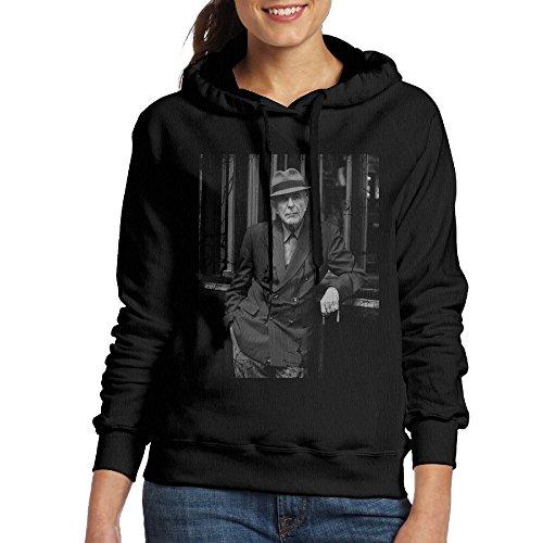 Leonard Cohen Women's Fleece Hoodie L Black