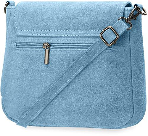 italienische Damentasche Messengertasche Schultertasche mit bunten Nieten Wildleder himmelblau