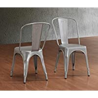 Tabouret Stackable Bistro Steel Side Chairs (Set of 2) - Silver Finish